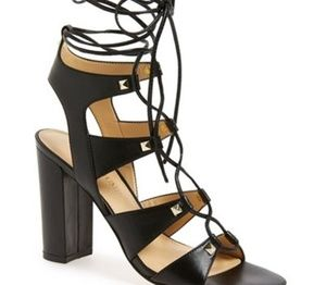 Ivanka Trump Kavita Black Leather Ghillie Heels
